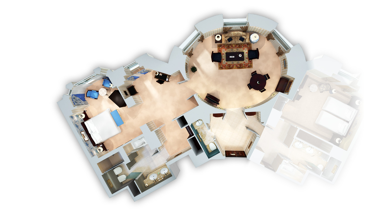 EXECUTIVE SUITE 3D FLOOR PLAN (CONNECTING ROOM AVAILABLE)