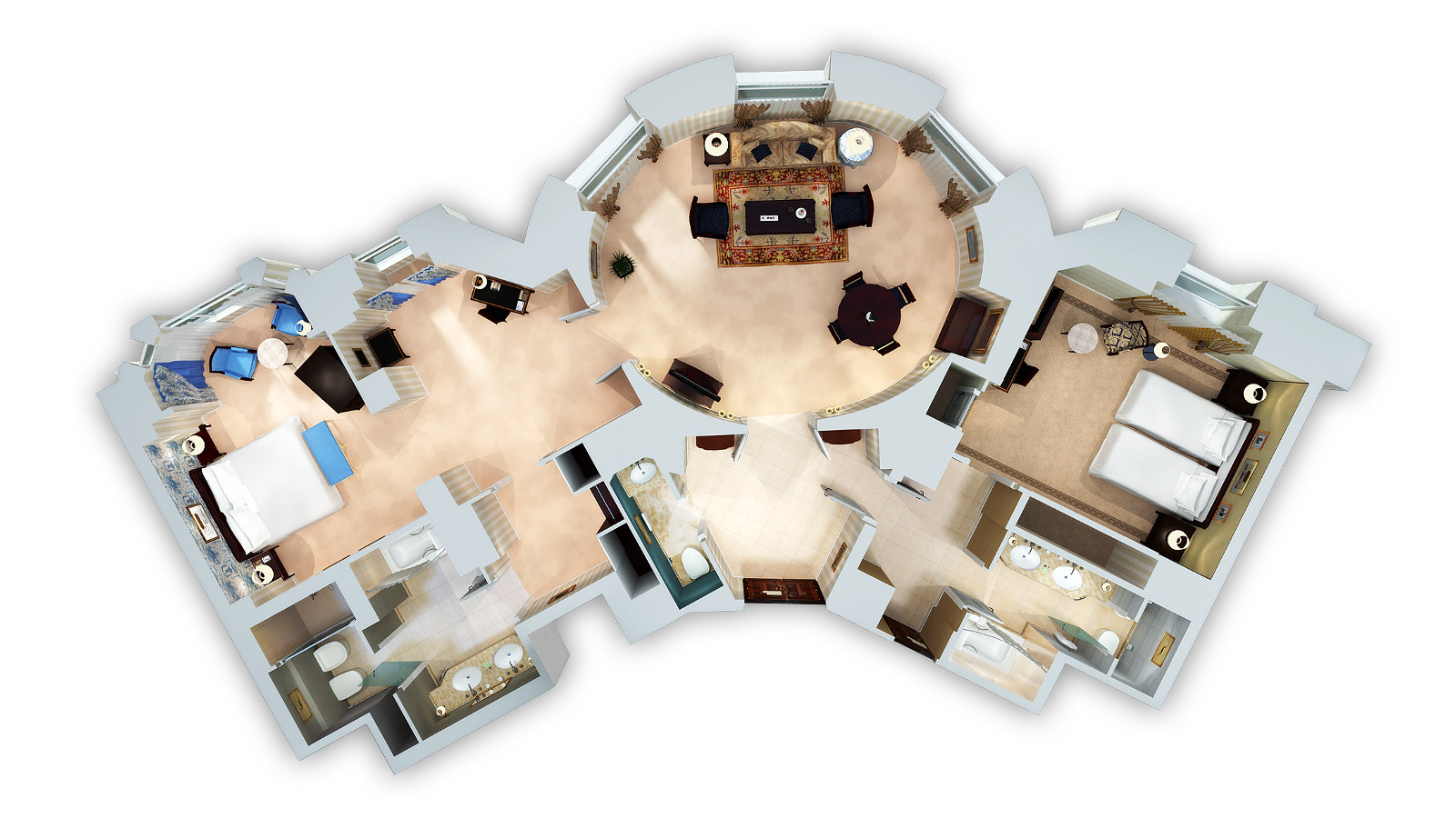 EXECUTIVE SUITE CONNECTED TO PREMIUM VIEW ROOM 3D FLOOR PLAN